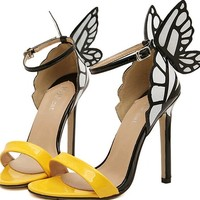 3 colors Fashion  wo's shoes JC vampire diaries heroine colorful butterfly high-heeled sandals wedding shoes#609