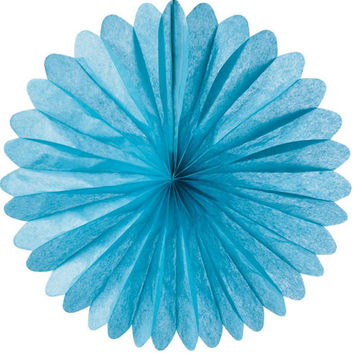 Large Turquoise Blue Hanging Paper Fan