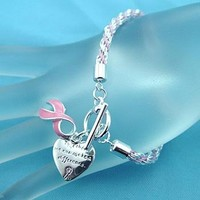 Pink Ribbon Breast Cancer Awareness Charm Bracelet