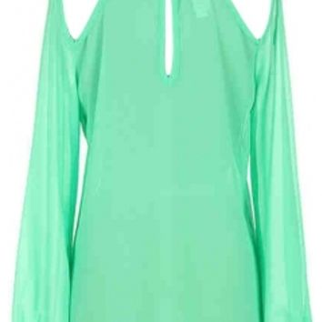 Mint Cutout Top
