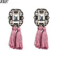16 Colors ! In Fashion Crystal Square Tassel Stud Earrings For Women Statement Fringing Earring Vintage Chic Brincos JURAN