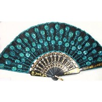 Peacock Pattern Sequin Fabric Hand Fan Decorative Fashionable (New Blue)