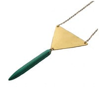 Geometric Triangle Necklace with Turquoise Spike