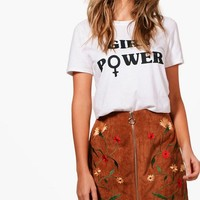 Jemima Embroidered Zip Front Cord A Line Skirt | Boohoo
