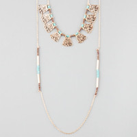 Full Tilt 2 Row Turquoise Bead Necklace Gold One Size For Women 25445162101