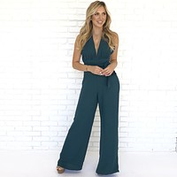 Hold Me Down Jumpsuit in Hunter Green