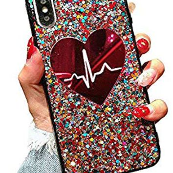 UnnFiko Laser Sequins Heartbeat Case for iPhone X, 3D Reflex Bling Pretty Sparkle Soft TPU Flexible Black Cover for Girls Women Couples (Heartbeat, iPhone X)