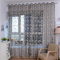 Home Textile Printed Flower European Style Window Curtains Fabric Tulle Sheer Curtain for bedroom living room kitchen decoration