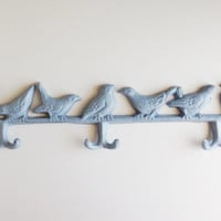 Bird Coat Rack,  Blue Bird Wall Hook, Shabby Chic Home Decor, Modern Rustic Towel Hanger, Branch Jewelry Display