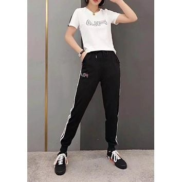 """FILA"" Woman Leisure Fashion Letter Personality Printing Crew Neck Spell Color Short  Sleeve Tops Stripe Trousers Two-Piece Set Casual Wear Sportswear"
