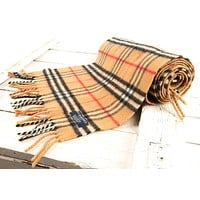 BURBERRY LONDON 100% LAMBSWOOL SCARF SHAWL VERY LONG AND SUBSTANTIAL MINT