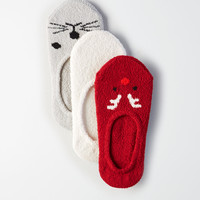 AEO Quirky Animal No-Show Socks 3-Pack, Light Gray