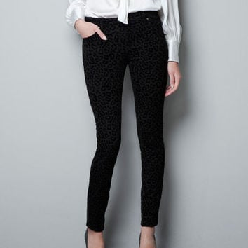 SATIN FLOCK TROUSERS - Woman - New this week - ZARA United States