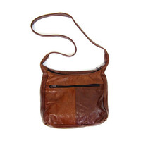 Vintage 70s Brown Leather Purse Two Tone Leather Patchwork Shoulder Purse DELLS Hippie Boho Small Tote Crossbody Purse Hobo Bag