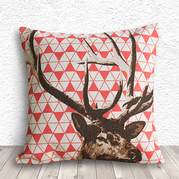 Pillow Cover, Pillow Case, Cushion Cover, Deer Pillow Cover 18x18 - Deer Geometric - 161