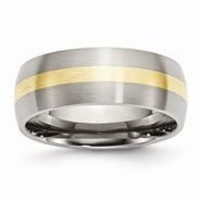Stainless Steel & 14k Yellow Inlay 8mm Brushed Wedding Band Ring