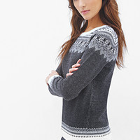 LOVE 21 Fair Isle Striped Sweater Black/Cream