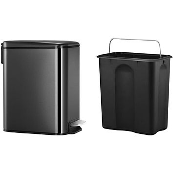 Lid Soft Close, Slim Small Trash Can with Removable Inner Wastebasket