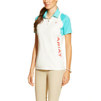 Ariat Ladies Team Cambria Polo Shirt - White/Bluebird