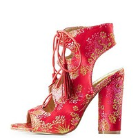 Brocade Lace-Up Slingback Sandals