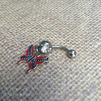 Rebel Flag Butterfly Belly Ring