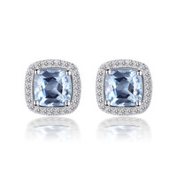 YAN & LEI Sterling Silver Earrings with Faceted Square Shape Blue Topaz and CZ