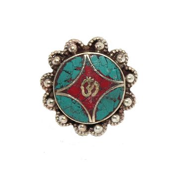 Om Coral Ring, Turquoise ring