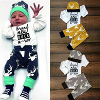 2016 Toddler Infant Newborn Baby 3PCS Baby Girls Boy Clothing Set 3pcs Long sleeve Romper+hat+pants Cute Deer Baby Clothing Sets
