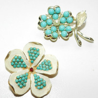 CIJ SALE Two 1960s Faux Turquoise Clover Flower Brooch Pin