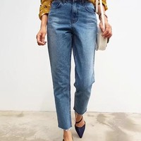 Blue Buttons Pockets High Waisted Mom Casual Long Jeans