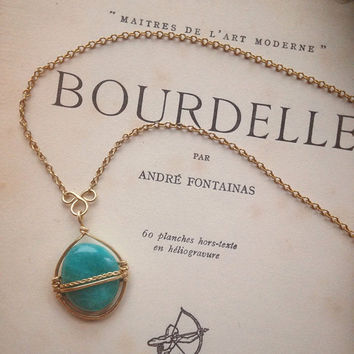amazonite necklace • brass wrapped crystal necklace - amazonite pendant - courage jewelry - witch jewelry - made in finland