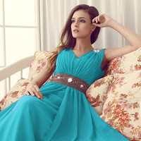 WowDresses — Elegant Sheath/Column V-neck Neckline Floor Length Prom Dress