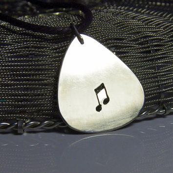"""Custom guitar pick necklace - note -large - """"Classy-Pick"""" brand - gift for boyfriend, son, dad"""