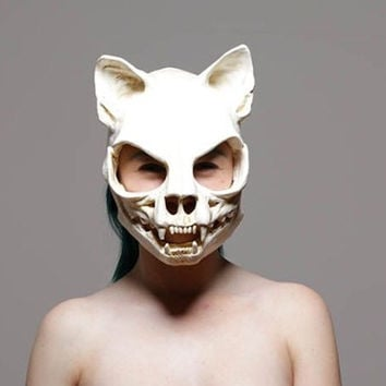 Kitty skull mask with ears and movable jaw. Size small