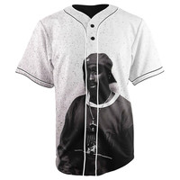 Tupac Shakur White Button Up Baseball Jersey