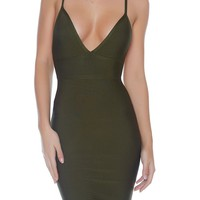 Paris Bandage Dress- OLIVE