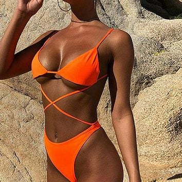 Neon Swimsuit One Piece Sexy Cross Bikini High Cut Swimwear Women Micro Monokini High Cut Bathing Suit Bodysuit