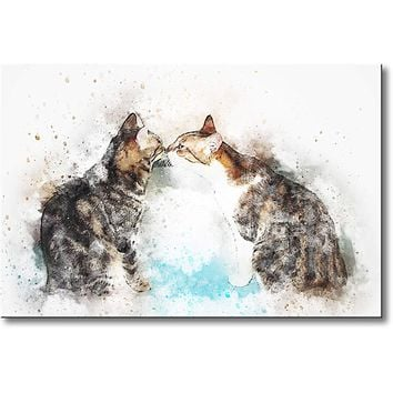 Two Cats Kissing Picture on Stretched Canvas, Wall Art Décor, Ready to Hang