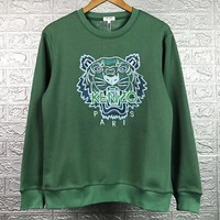 Kenzo New fashion embroidery letter tiger couple long sleeve top sweater Green