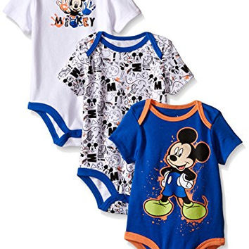 Disney Baby Mickey Mouse 3 Pack Bodysuits, Multiple/Blue, 18 Months