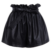 ROMWE | ROMWE Bowknot Bud Waist Black Faux Leather Shorts, The Latest Street Fashion
