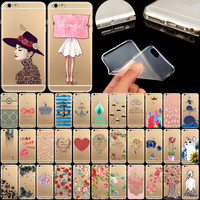 New Arrival Soft TPU Ultra thin Transparent Phone Cases for iPhone 5 5S Cute Animals Colored Painted