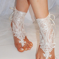 beach shoes, bridal sandals, lariat sandals, wedding bridal, barefoot sandles, white accessories, wedding shoes, summer wear, handmade