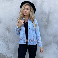 On Fire Distress Blue Denim Jacket
