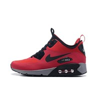 Nike AIR MAX 90 UTILITY Retro Men Running Shoes Black White Red