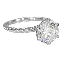 Round Moissanite 6 Prong Braided Rope Solitaire Ring