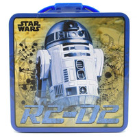 STAR WARS R2-D2 Metal Tin Lunchbox Tote Carrier Carry All The Force Awakens New