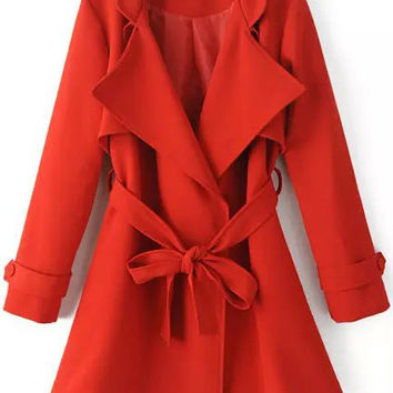 Red Long Sleeve Tie-waist Trench Coat