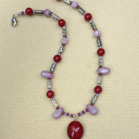 Red, Purple & Silver Beaded Necklace