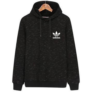 ADIDAS Clover winter new warm sports and leisure hooded pullover sweater black